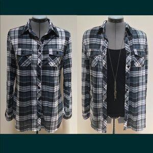 💎R N B button-down plaid shirt